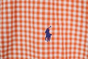 Ralph Lauren Mens sz Large Orange White Gingham Check Classic Fit Shirt