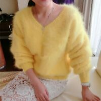 ❄️ GELB 100 % ANGORA PULLOVER WOLLE PURE WOOL JUMPER SWEATER MINK CASHMERE