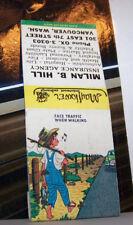 Rare Vintage Matchbook Cover B7 Vancouver Washington Face Traffic When Walking