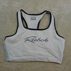 Reebok Shirt Women Medium White Crop Athletic Running Cotton Tops Ladies
