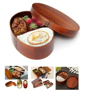 Japanese Bento Box 19x10x10cm Wooden Lunch Portable Kids Food Storage Containers
