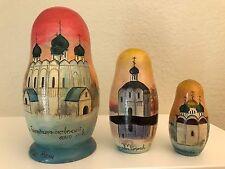 Russian Churches? Matryoshka Babushka Wood Nesting Doll 3pc Set Russia 1993