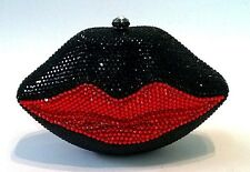 Black/Red ~ LIPS Clear Handmade Austria Crystal LIPS 3D Shaped Cocktail Bag
