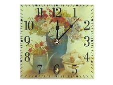 Tischuhr aus Glas *Blumen* 15x15 cm Uhr - 20406