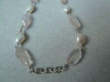 """Vintage Sterling Necklace, Natural Rose Quart, Pearls, Ak clasp, 27"""" Konder #236"""