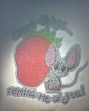 Vintage Iron On Tshirt Heat Transfer 1977 Sweet Things Strawberry Mouse Cute DIY
