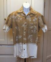 Hawaiian Shirt - Sz Medium - Hula Girls, Palm Trees, Hibiscus, Plumeria