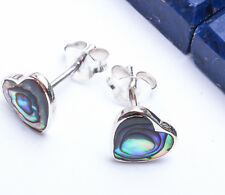 BEAUTIFUL Abalone Shell Heart Studs .925 Sterling Silver Earrings