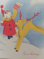 1950s Vtg GIRL REINDEER Canada Artist Blockprint Studio CHRISTMAS GREETING CARD