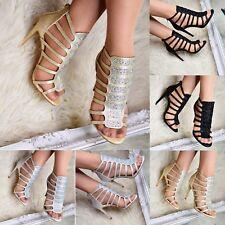 Ladies Heeled Gladiator Diamante Sandals Stiletto Strappy Open toe Shoes Size