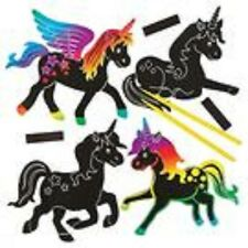 Pack of 10 Unicorn Scratch Art Magnets - Children's Crafts - BNIB