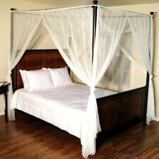 White Four 4 Post Bed Canopy Netting Curtains Sheer Panel Fabric Corner Any Size