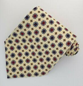 VALERIA BOLD Hand Made Men's Tie Cream Patterned 100% Silk Necktie