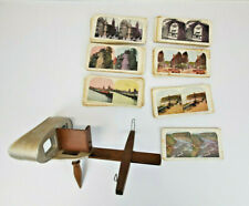 Antique Underwood Sterescope Viewer 3-D With Lot of 100 Photo Cards