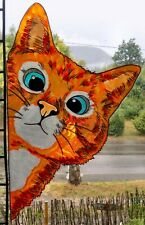 WICOART WINDOW COLOR STICKER CLING DECAL VITRAIL PEAKING CAT CORNER