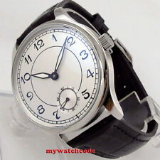 44mm PARNIS white dial Arabic Numerals  6498 hand winding movement mens watch 28