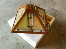 Dale Tiffany Style Stained Glass Hanging Ceiling Light and Pyramid Shaped #2576