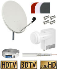 HD SAT Anlage Digital 2 Teilnehmer Twin-LNB 20m Kabel 120dB Antenne 60cm F-St.