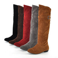 Winter Womens Pull On New Buckle Shoes Flat Warm Winter Slouch Knee High Boots