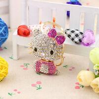 Hello Kitty Key Chains 3D Bling Crystal Ring Handbag Wallet Pendant Car Pink KT
