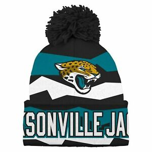 OuterStuff NFL Youth Jacksonville Jaguars Vintage Ribbed Cuffed Knit with Pom