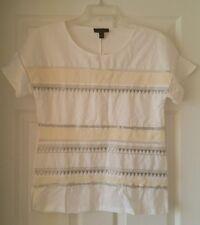 J Crew Women Embroidered flutter-sleeve Tshirt XS shirt top wht silver $78 C5868