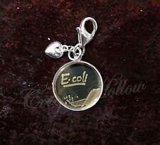 925 Sterling Silver Charm E. Coli Bacteria In Petri Dish Biology