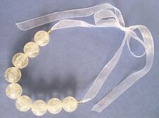 TIE-ON NECKLACE: 9 LG CRACKLE BEADS ON CREAM COLORED VOILE RIBBONS