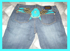 NEW Rocawear Jeans size 9 Med wash Unique Painted Back Dark Blue Straight leg