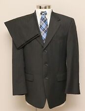 Mens 40R Hart Schaffner Marx 2 Piece Charcoal with Brown Pinstripes Wool Suit