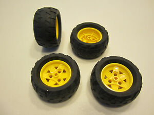 10# 4 Lego Technik Technic Rad Räder Reifen mit Felge 68,8x36 H gelb