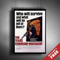 The Texas Chain Saw Massacre 1974 MOVIE POSTER A3 A4 Classic Film Art Print