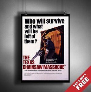 The Texas Chain Saw Massacre 1974 MOVIE POSTER A3 A4 Classic Film Art Print