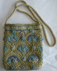 "Peruvian Connection Embroidered Pima Cotton Purse Shoulder Crossbody Bag 7"" x 8"""