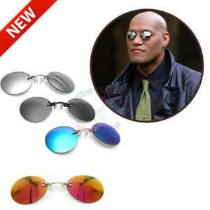 The Matrix Morpheus Style Round Rimless Sunglasses Men Clamp Nose Sun Glasses