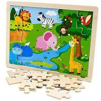 Professor Poplar's Exotic Safari Animals Inset Wooden Jigsaw Puzzle, 24 pieces