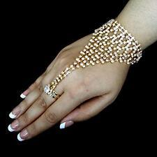 Bollywood Brautschmuck Handschmuck Ring Sklavenarmband Strass Hochzeit GOLD Sari