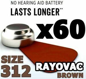 Rayovac 60 x Size 312 Hearing Aid Batteries 1.45v BROWN PR41 NEW SEALED FRESH