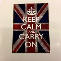 KEEP CALM & CARRY ON Union Jack Distressed Sticker Decal 110mm high x 80mm wide
