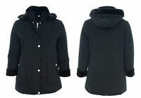 Womens Size 10 to 20 Fur Trim Black Long Jacket Hood Coat Soft Warm Lined Ladies