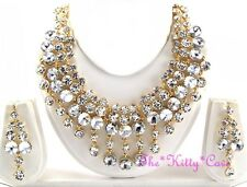 BellyDance Hollywood Chandalier Bib 3pc Indian Gold Crystal Bridal Jewellery Set