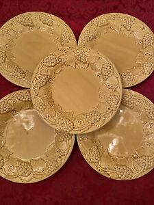 "Bordello Pinheiro Yellow Grape Leaves Set Of 5 Dinner Plates 9.1/2"""