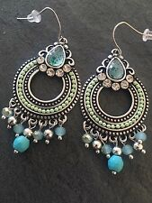 Ethnic Vintage Beaded Hoop Earrings Silver Plated. Statement Fashion