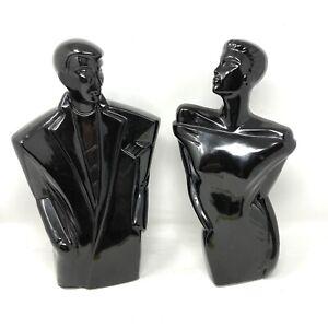 Modernist Art Deco Lindsey B. Balkweill Style Man & Women Black Porcelain Bust