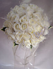 Wedding bouquet, Brides Posy ivory roses with tulle, pearl loops & butterfly