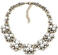 WHITE PEARL BEADED & CLEAR CRYSTAL RHINESTONE Gold Choker Bib Statement Necklace
