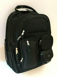 Large Black Padded Backpack 14 storage pockets 16H-13W-9D