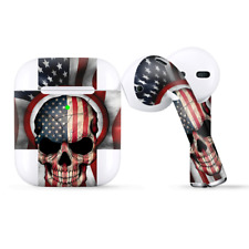 Skins Wraps compatible for Apple Airpods  America Skull Military USA Murica
