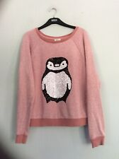 RIVER ISLAND pink Sweat Top. Owl Design Size 10 Long Sleeve. Good Condition