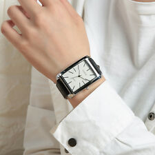 Simple Fashion Men Boy Stainless Steel Case Rectangle Dial Quartz Wrist Watches